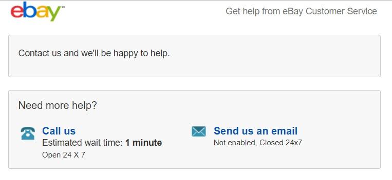 右に「Send us an email」、左に「Call us」と書かれている