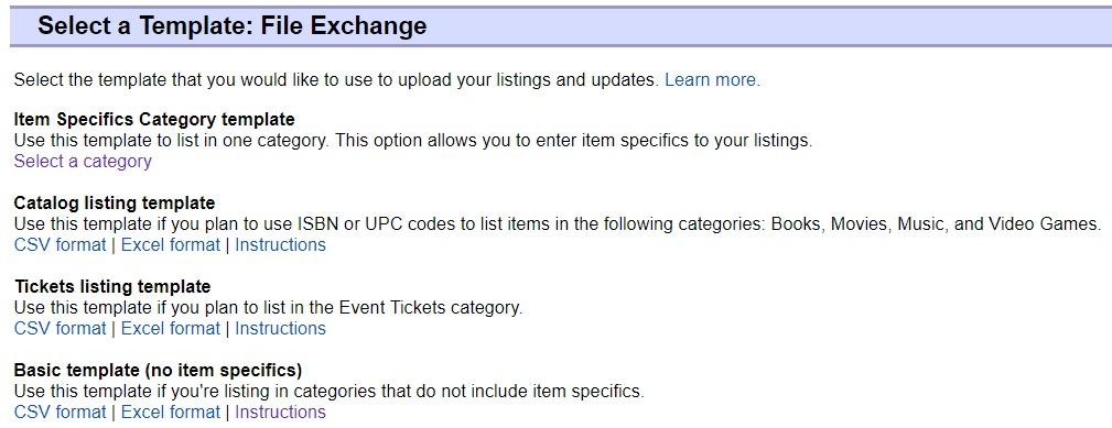 Item Specifics Category template/Catalog listing template/Tickets listing template/Basic template