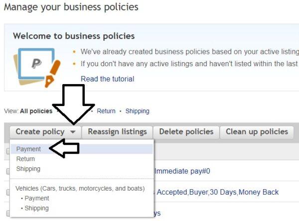 ebayビジネスポリシー作成。「Create policy」のボタン