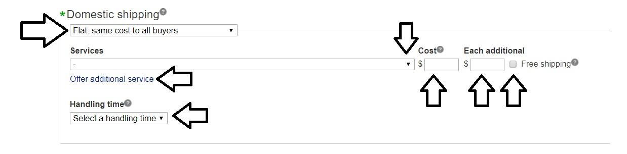 ebay発送ポリシーの作成方法。アメリカ国内。入力箇所