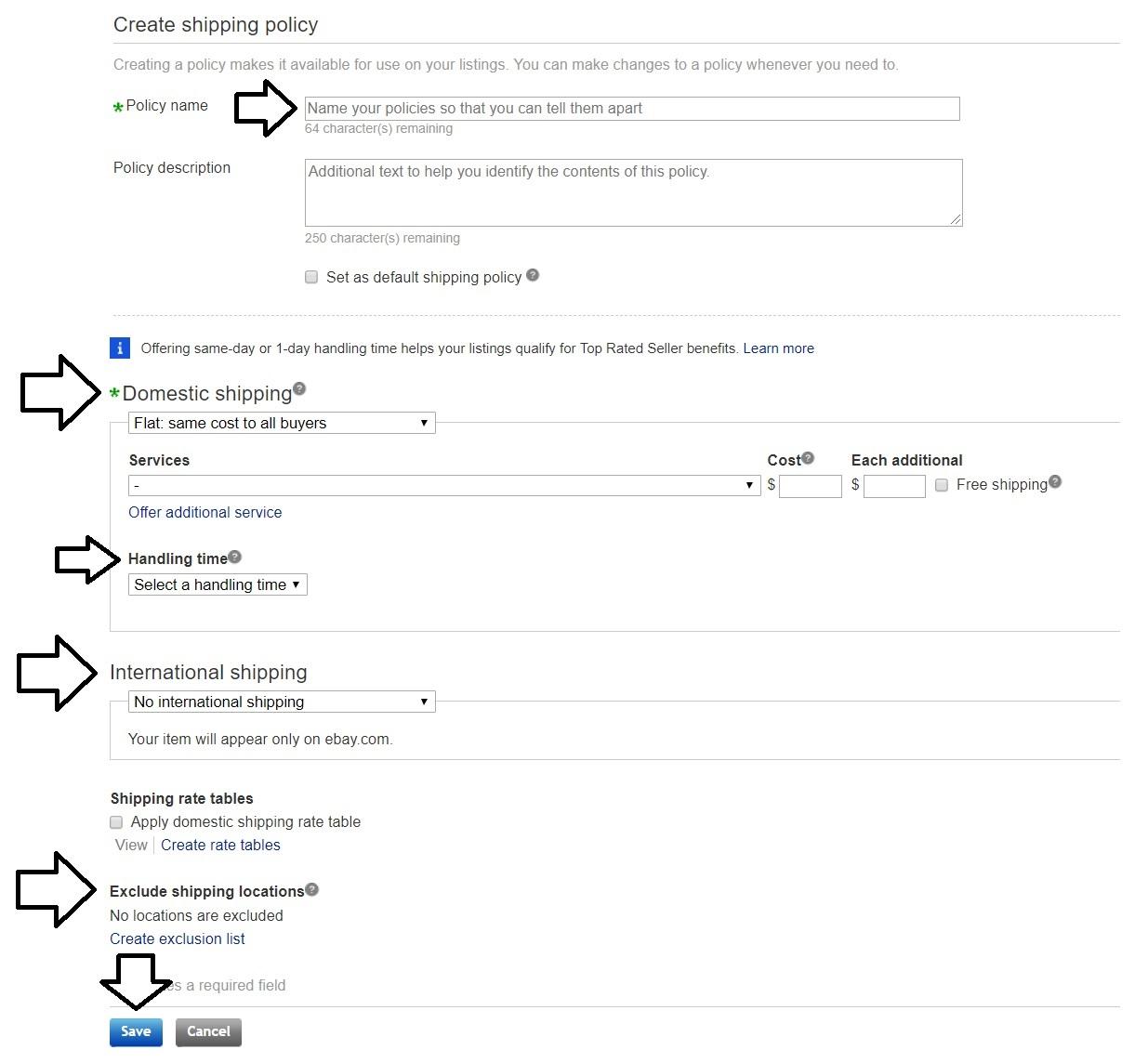 ebay発送ポリシーの作成方法。入力箇所