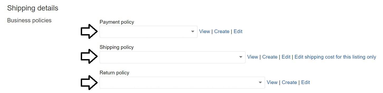 ebayでビジネスポリシーを設定する方法。ビジネスポリシーの選択