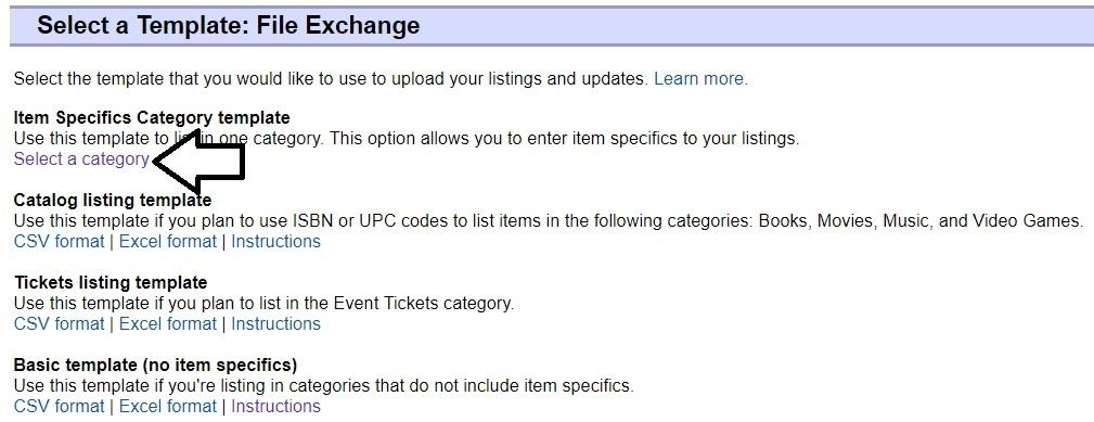 ファイルエクスチェンジのカテゴリー別テンプレートのダウンロード「Select a category」に矢印