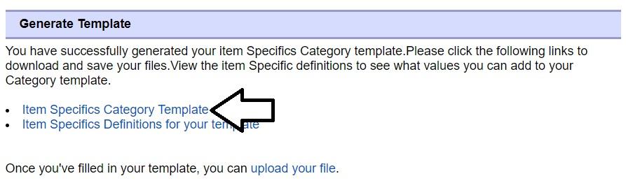 ファイルエクスチェンジのカテゴリー別テンプレートのダウンロード。「Item Specifics Category Template」に矢印