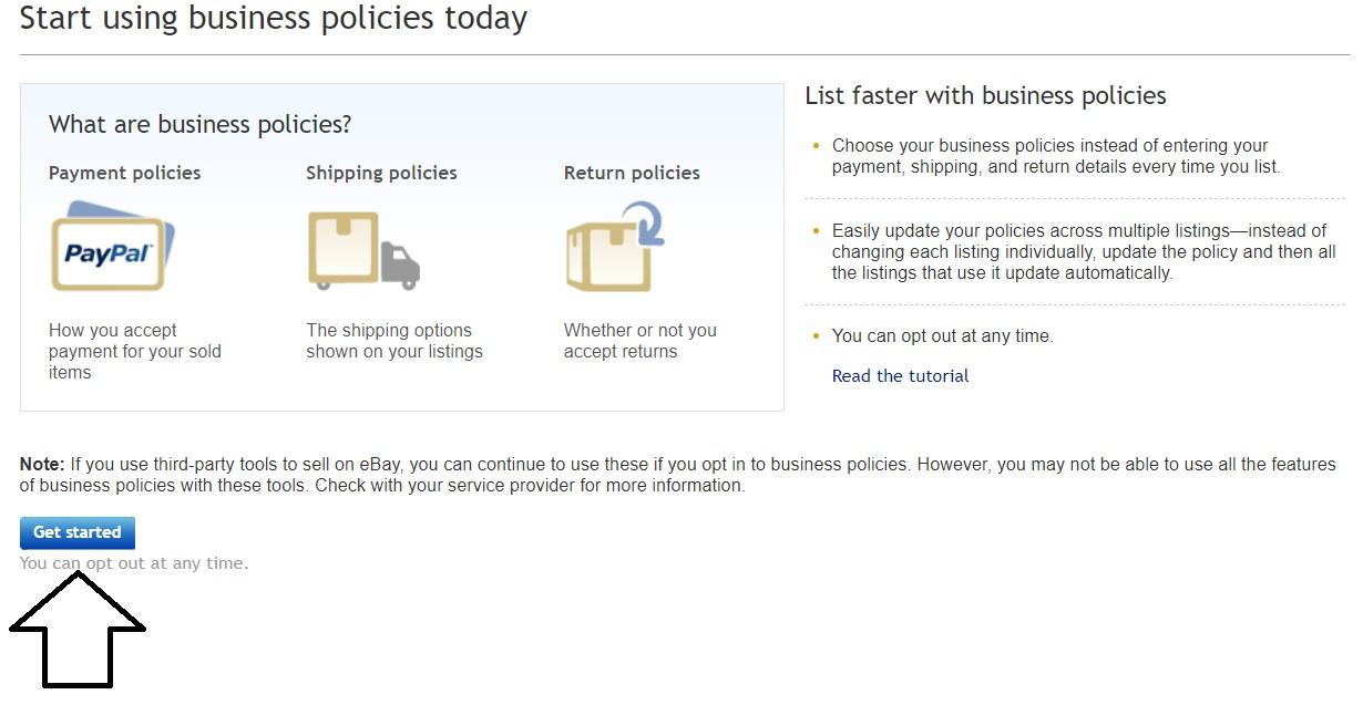 ebayのビジネスポリシーを使い始める画面。左下に「Get started」のボタン