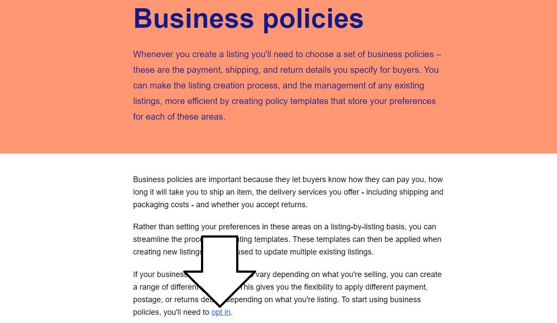 ebayのビジネスポリシーを使い始めるヘルプページ。下部に「opt in」のリンク」