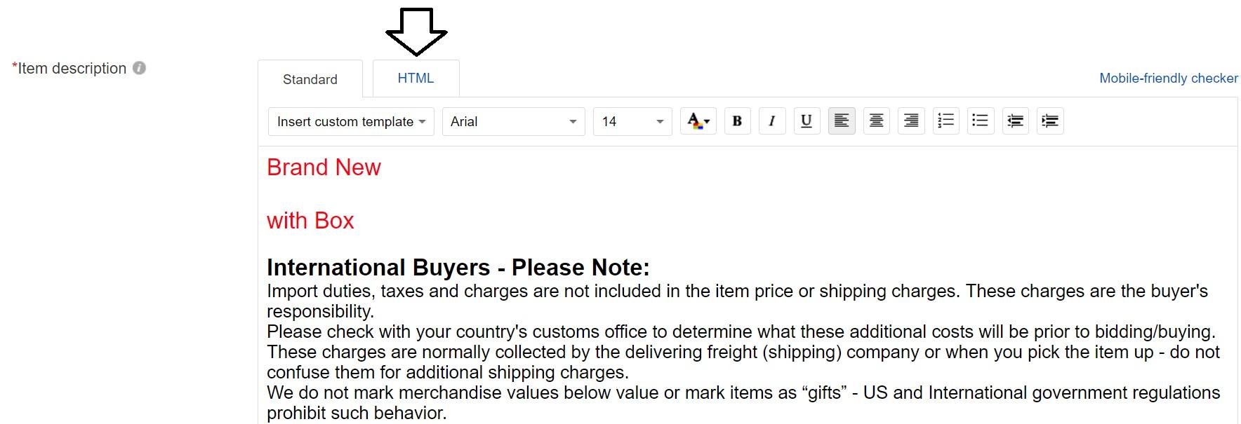 eBayのitem discription入力画面。Standard表示