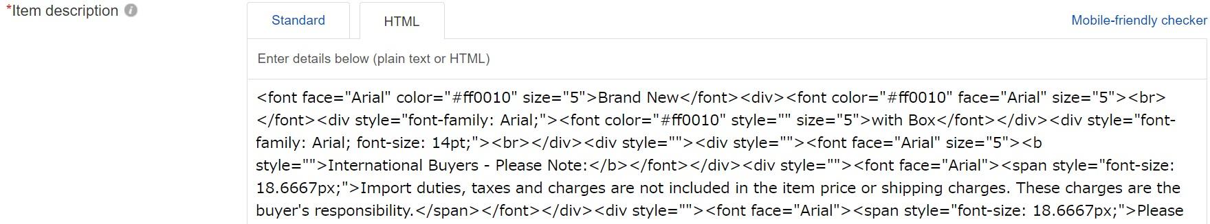 eBayのitem discription入力画面。HTML表示
