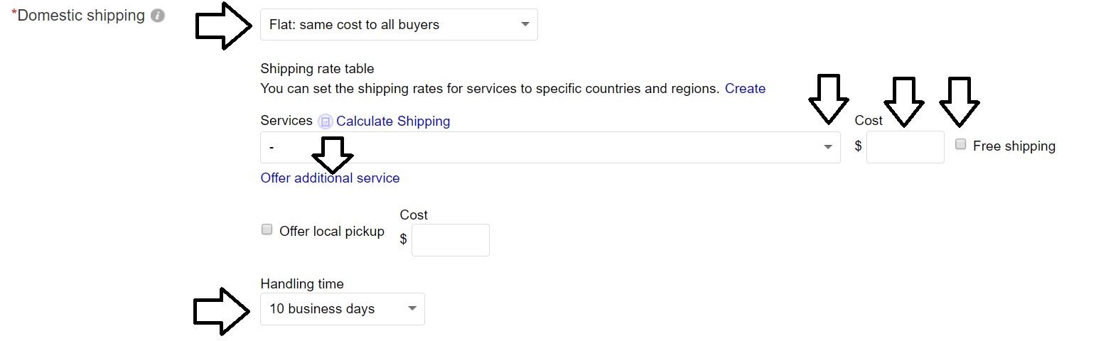 ebayの発送情報入力画面。アメリカ国内