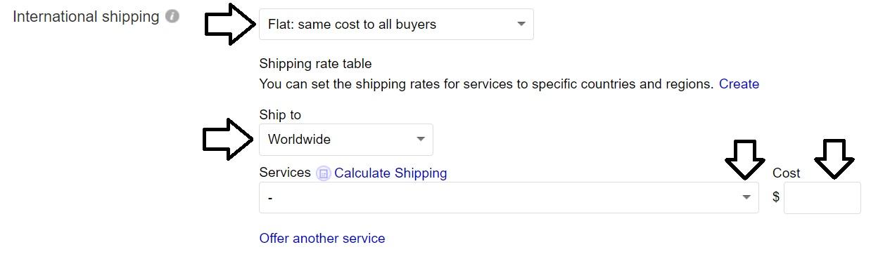 ebayアメリカ以外の発送情報設定画面。無料の場合